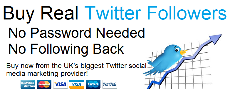 Buy Real Twitter Followers from the UK's biggest supplier.